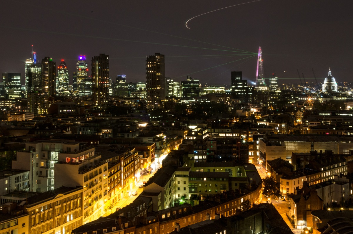 Panorama of City of London during The Shard's opening laser show