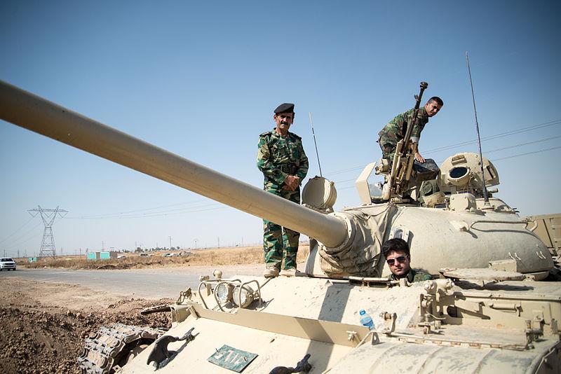 Iraqi soldiers outside Kirkuk, Iraq, June 19 2014