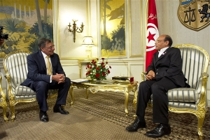 Former US Defense Secretary Leon E. Panetta, left, meets with Tunisian President Moncef Marzouki, right, in Tunis, Tunisia, July 2012