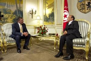 Former US Defense Secretary Leon E. Panetta, left, meets with Tunisian President Moncef Marzouki, right, in Tunis, Tunisia, July 2012