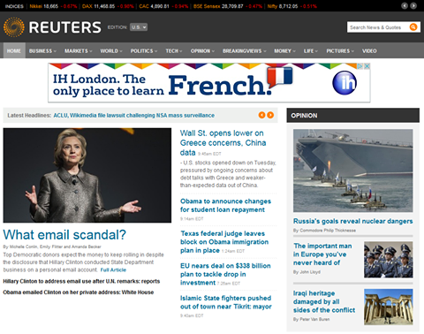 Commodore Philip Thicknesse's article taking pride of place on Reuters.com