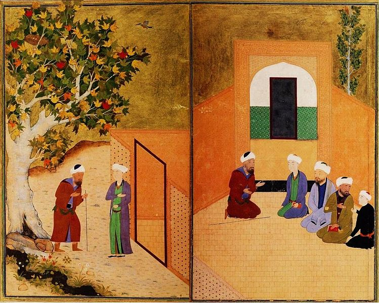 """Illustration from the late Timurid manuscript """"Sa'di and the youth of Kashgar"""""""