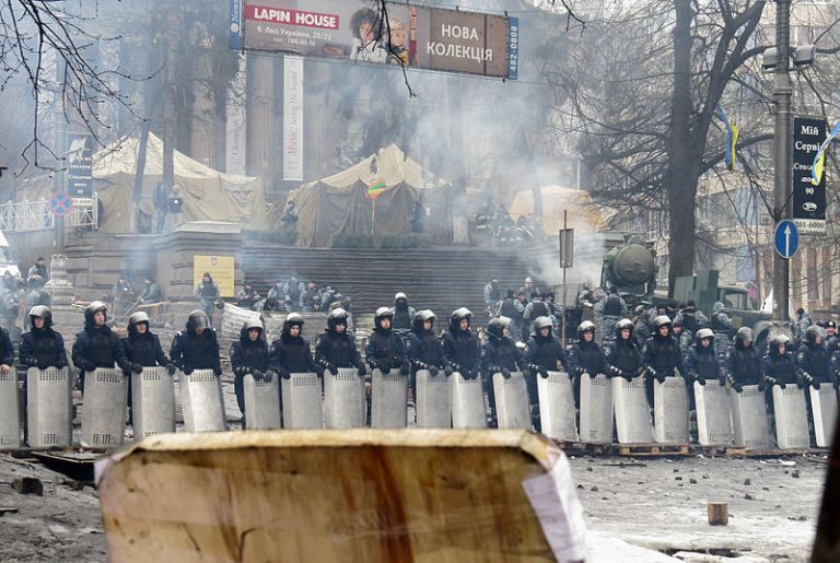 A line of riot police in Kiev, Ukraine, February 2014.