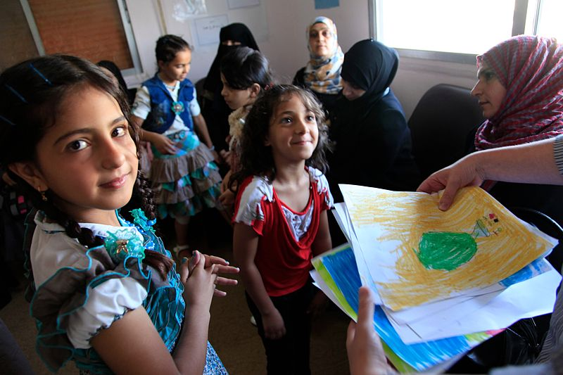 Syrian refugee children at a clinic in northern Jordan.
