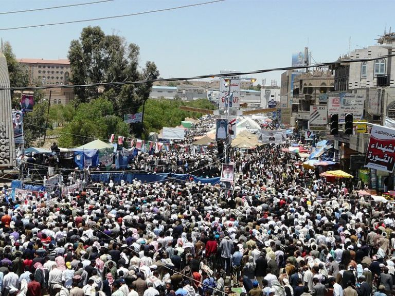 Protestors in Sana'a, Yemen, during the Arab Spring.