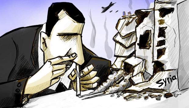 Cartoon by Amjad Wardeh depicting Bashar al-Assad snorting dust as if it were cocaine