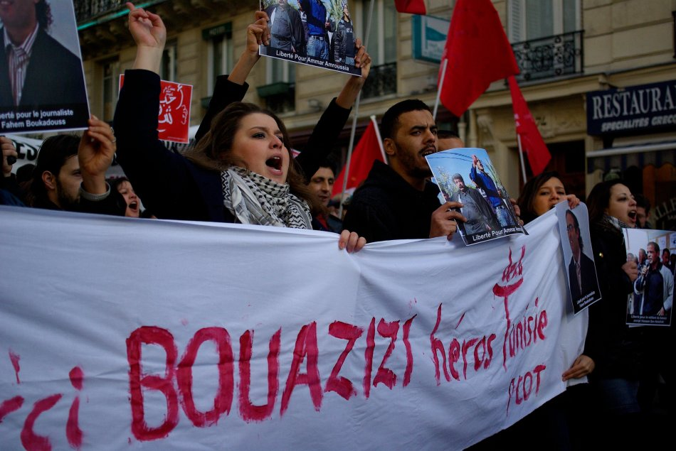 "A French protest in support of Mohamed Bouazizi, the ""hero of Tunisia"""