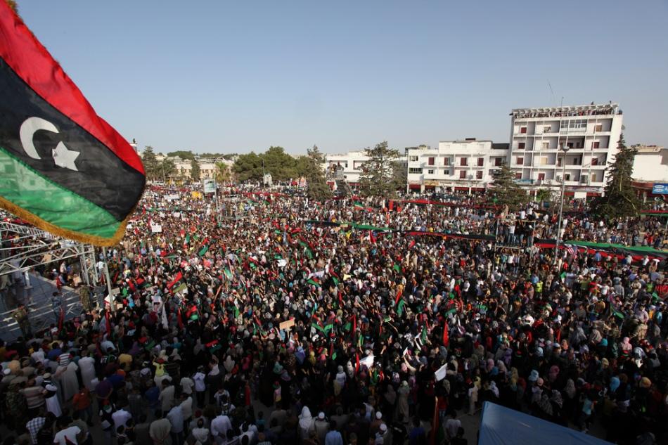 Protestors in Libya during the 2011 Revolution.