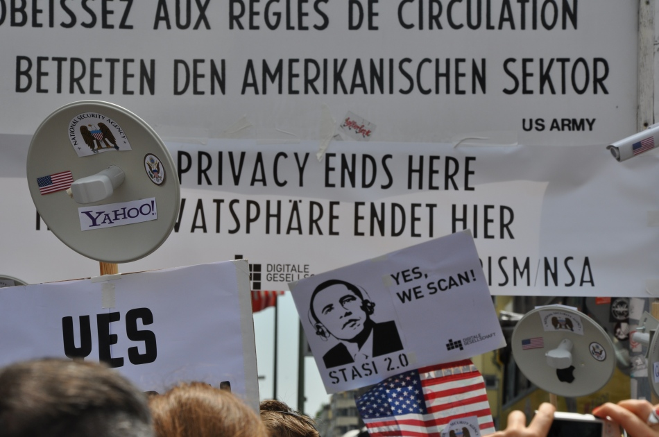 German demonstration against NSA mass surveillence. June 2013