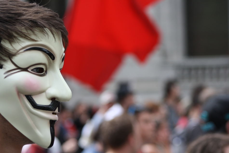 A member of Anonymous attends a protest in Montreal (2012).