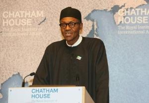 Muhammadu Buhari speaking at Chatham House, February 2015.