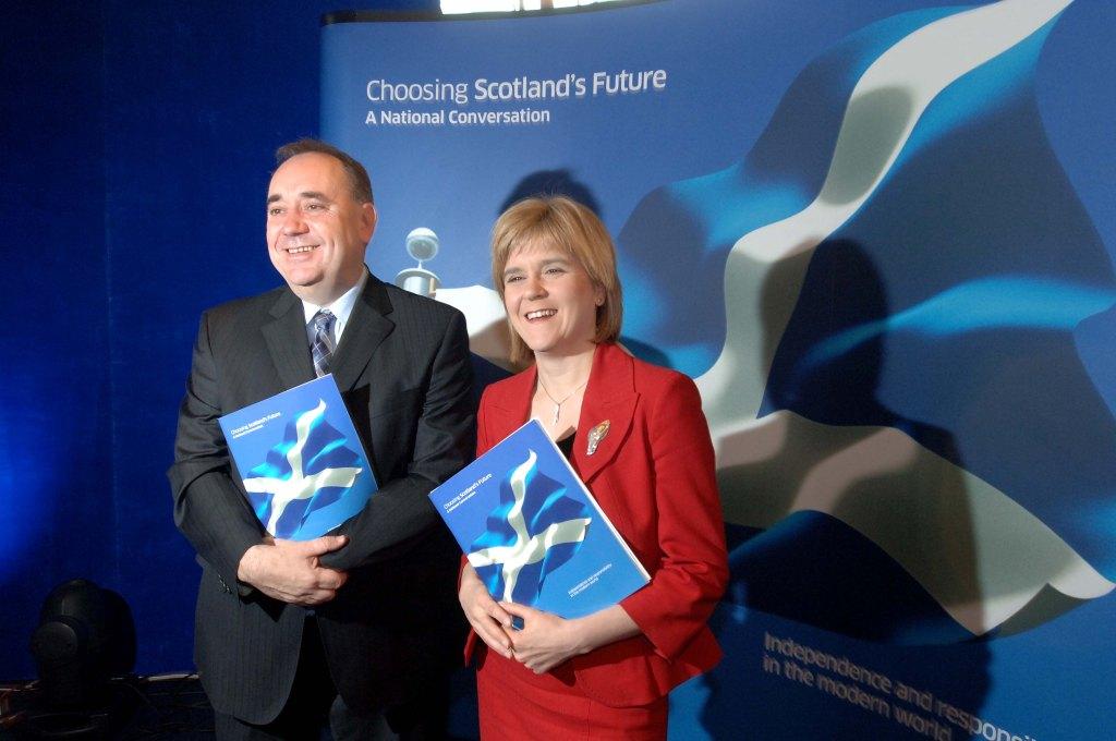 Former SNP leader Alex Salmond and current SNP leader Nicola Sturgeon
