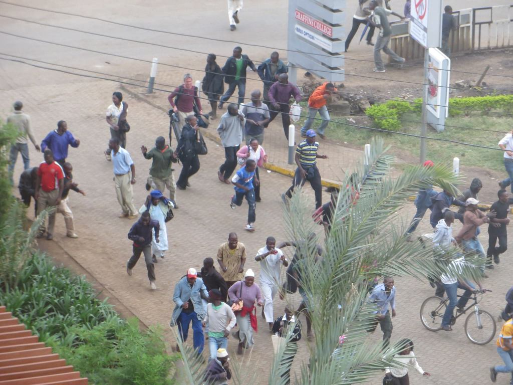 Crowd fleeing Westgate shopping mall during 2013 attack