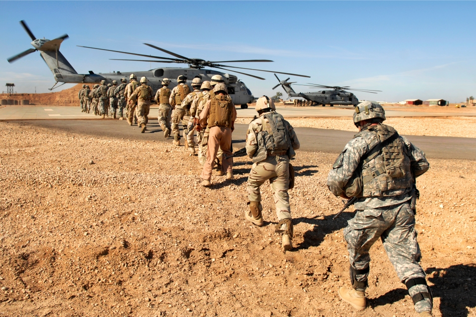 Iraqi soldiers and U.S. Soldiers at Camp Ramadi, Iraq, .
