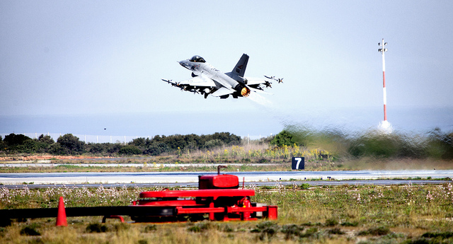 A Norwegian F-16 figther jet during take off from Souda Air Base, Crete, during the NATO-led Operation Unified Protector.
