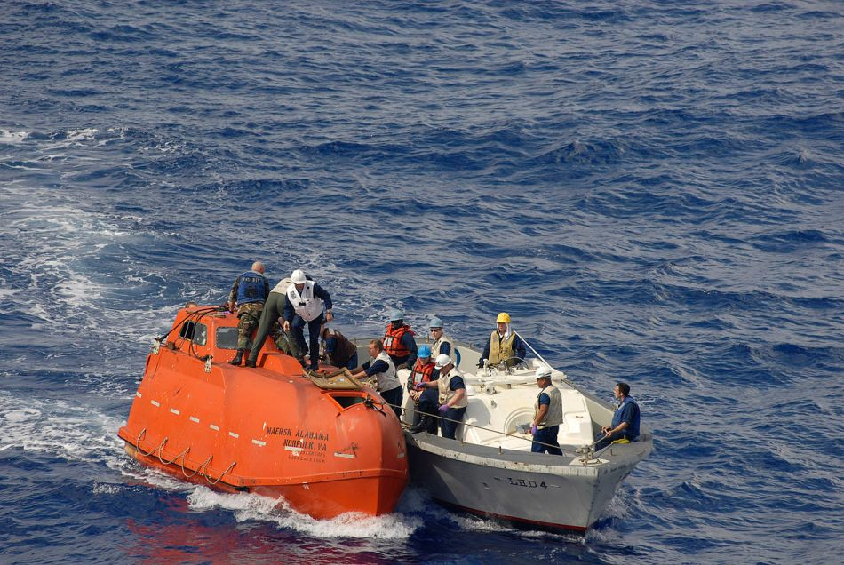Capt. R Phillips held captive in this lifeboat by Somali pirates 2009