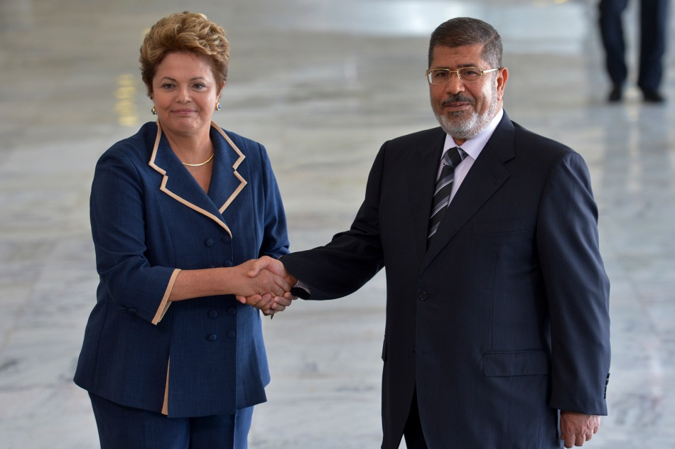 Former President of Egypt Mohamed Morsi meets with Brazilian President Dilma Rousseff in May 2013, just before he was ousted by Sisi.