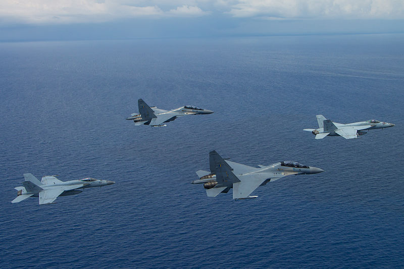 US and Malaysian air forces bi-lateral exercise in South China Sea May 2015
