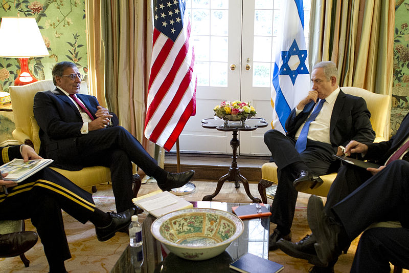 Former US Defense Secretary Leon E. Panetta meets with Israeli Prime Minister Benjamin Netanyahu at Blair House, Washington, D.C., March 5, 2012 (DOD)