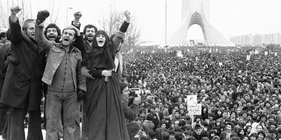 Mass demonstration in Tehran during the Iranian Revolution of 1979.