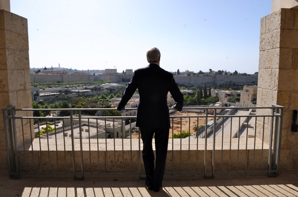 US Secretary of State Kerry looks out at the Old City in Jerusalem.