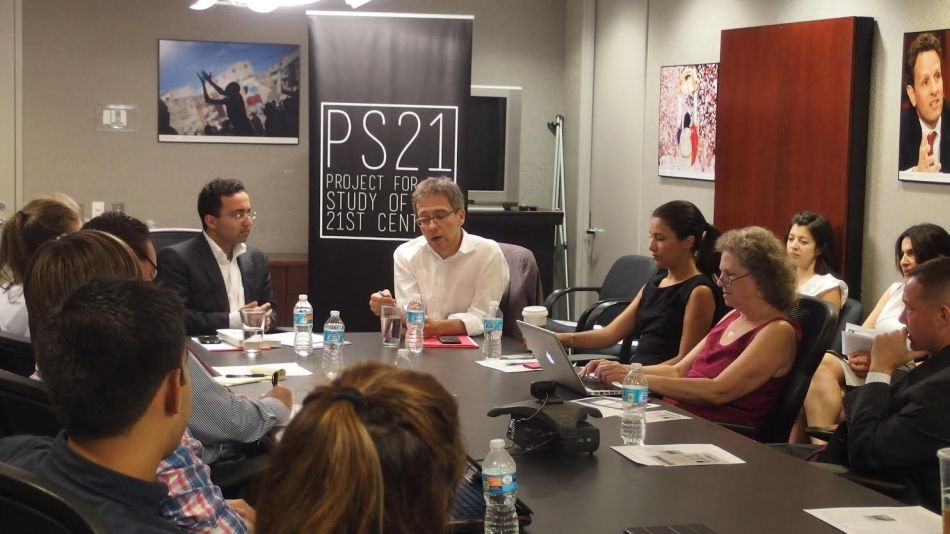 Ian Bremmer discusses the future of American foreign relations at a PS21 discussion in July.