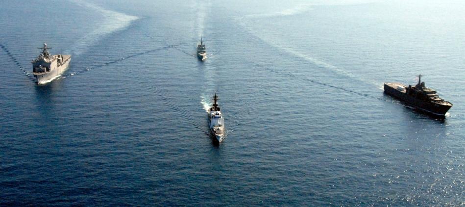 US Navy ships in the South China Sea (US Navy).