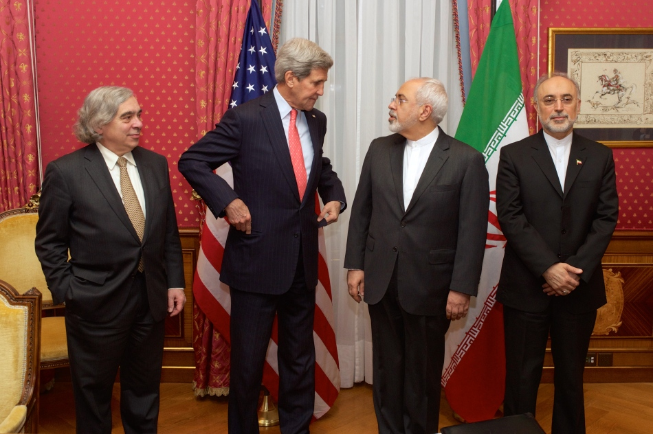 Ernest Moniz, John Kerry, Mohammad Javad Zarif, and Ali Akbar Salehi in Lausanne, 16 March 2015.