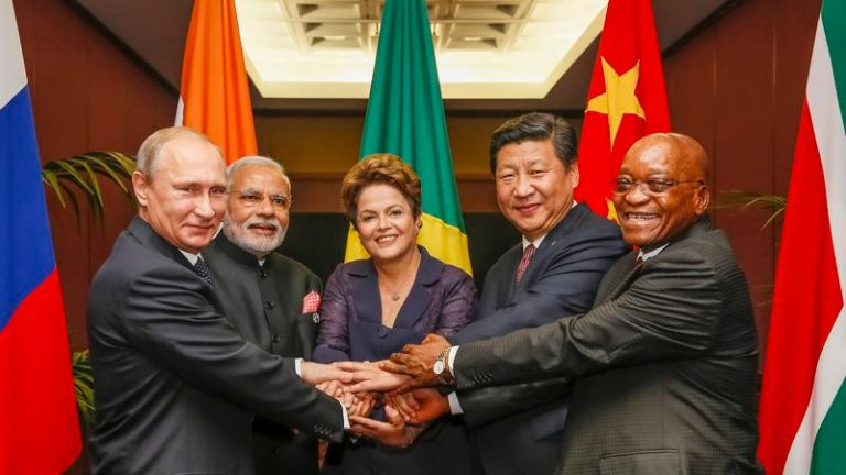 China President Xi Jinping and Russia President Vladimir Putin along with other BRICS leaders, November 2014.