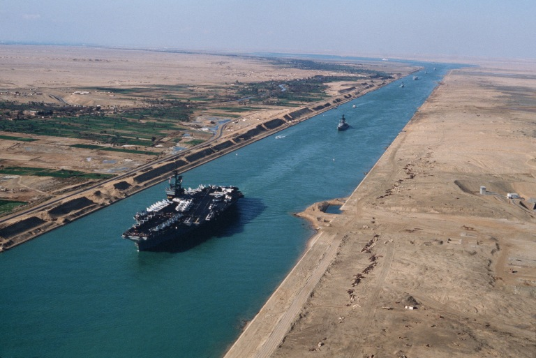 A US aircraft carrier during its transit through the Suez Canal.