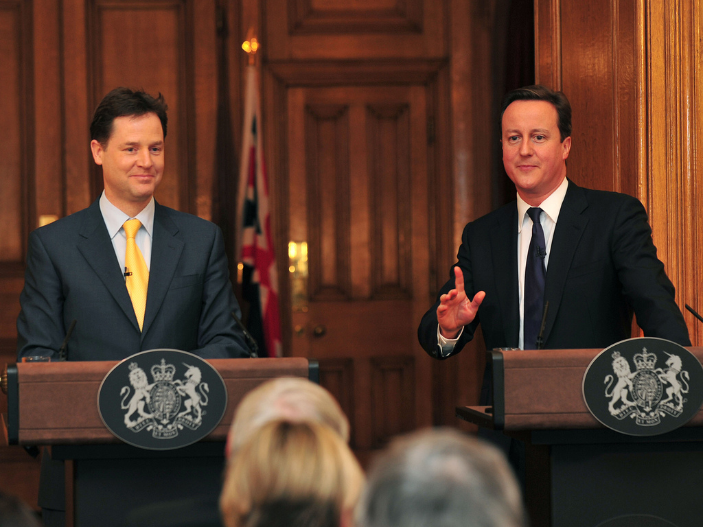 UK Prime Minister David Cameron and and former Deputy Prime Minister Nick Clegg speaking at a joint press conference (photo: Cabinet Office).