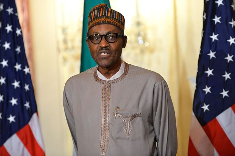 Nigerian President Buhari addresses reporters in the US (photo: State Department).
