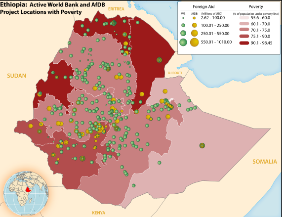 Map of poverty levels by administrative district